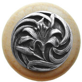 Florals & Leaves Collection 1-1/2'' Diameter Tiger Lily Round Wood Cabinet Knob in Antique Pewter and Natural, 1-1/2'' Diameter x 1-1/8'' D