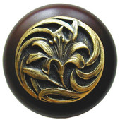 Florals & Leaves Collection 1-1/2'' Diameter Tiger Lily Round Wood Cabinet Knob in Antique Brass and Dark Walnut, 1-1/2'' Diameter x 1-1/8'' D
