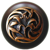 Florals & Leaves Collection 1-1/2'' Diameter Tiger Lily Round Wood Cabinet Knob in Antique Copper and Dark Walnut, 1-1/2'' Diameter x 1-1/8'' D