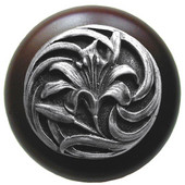 Florals & Leaves Collection 1-1/2'' Diameter Tiger Lily Round Wood Cabinet Knob in Antique Pewter and Dark Walnut, 1-1/2'' Diameter x 1-1/8'' D