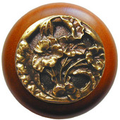 Florals & Leaves Collection 1-1/2'' Diameter Hibiscus Round Wood Cabinet Knob in Antique Brass and Cherry, 1-1/2'' Diameter x 1-1/8'' D