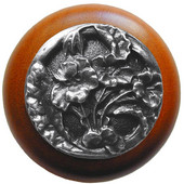 Florals & Leaves Collection 1-1/2'' Diameter Hibiscus Round Wood Cabinet Knob in Antique Pewter and Cherry, 1-1/2'' Diameter x 1-1/8'' D