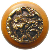 Florals & Leaves Collection 1-1/2'' Diameter Hibiscus Round Wood Cabinet Knob in Antique Brass and Maple, 1-1/2'' Diameter x 1-1/8'' D