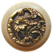 Florals & Leaves Collection 1-1/2'' Diameter Hibiscus Round Wood Cabinet Knob in Antique Brass and Natural, 1-1/2'' Diameter x 1-1/8'' D