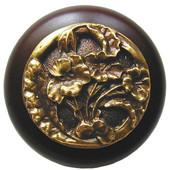 Florals & Leaves Collection 1-1/2'' Diameter Hibiscus Round Wood Cabinet Knob in Antique Brass and Dark Walnut, 1-1/2'' Diameter x 1-1/8'' D