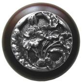 Florals & Leaves Collection 1-1/2'' Diameter Hibiscus Round Wood Cabinet Knob in Antique Pewter and Dark Walnut, 1-1/2'' Diameter x 1-1/8'' D
