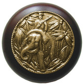 Lodge & Nature Collection 1-1/2'' Diameter Jungle Patrol Round Wood Cabinet Knob in Antique Brass and Dark Walnut, 1-1/2'' Diameter x 1-1/8'' D