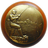 Lodge & Nature Collection 1-1/2'' Diameter Catch of the Day Round Wood Cabinet Knob in Antique Brass and Cherry, 1-1/2'' Diameter x 1-1/8'' D