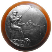 Lodge & Nature Collection 1-1/2'' Diameter Catch of the Day Round Wood Cabinet Knob in Antique Pewter and Cherry, 1-1/2'' Diameter x 1-1/8'' D