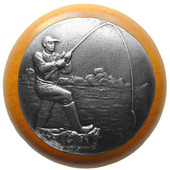 Lodge & Nature Collection 1-1/2'' Diameter Catch of the Day Round Wood Cabinet Knob in Antique Pewter and Maple, 1-1/2'' Diameter x 1-1/8'' D