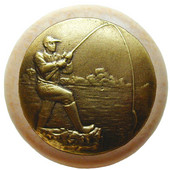 Lodge & Nature Collection 1-1/2'' Diameter Catch of the Day Round Wood Cabinet Knob in Antique Brass and Natural, 1-1/2'' Diameter x 1-1/8'' D