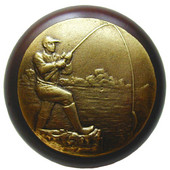 Lodge & Nature Collection 1-1/2'' Diameter Catch of the Day Round Wood Cabinet Knob in Antique Brass and Dark Walnut, 1-1/2'' Diameter x 1-1/8'' D