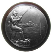 Lodge & Nature Collection 1-1/2'' Diameter Catch of the Day Round Wood Cabinet Knob in Antique Pewter and Dark Walnut, 1-1/2'' Diameter x 1-1/8'' D