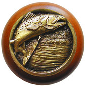 Lodge & Nature Collection 1-1/2'' Diameter Leaping Trout Round Wood Cabinet Knob in Antique Brass and Cherry, 1-1/2'' Diameter x 1-1/8'' D