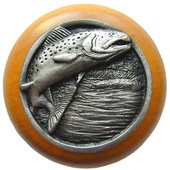 Lodge & Nature Collection 1-1/2'' Diameter Leaping Trout Round Wood Cabinet Knob in Antique Pewter and Maple, 1-1/2'' Diameter x 1-1/8'' D