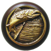 Lodge & Nature Collection 1-1/2'' Diameter Leaping Trout Round Wood Cabinet Knob in Antique Brass and Dark Walnut, 1-1/2'' Diameter x 1-1/8'' D