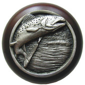 Lodge & Nature Collection 1-1/2'' Diameter Leaping Trout Round Wood Cabinet Knob in Antique Pewter and Dark Walnut, 1-1/2'' Diameter x 1-1/8'' D