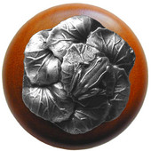 Lodge & Nature Collection 1-1/2'' Diameter Leap Frog Round Wood Cabinet Knob in Antique Pewter and Cherry, 1-1/2'' Diameter x 1-3/8'' D
