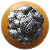 Lodge & Nature Collection 1-1/2'' Diameter Leap Frog Round Wood Cabinet Knob in Antique Pewter and Maple, 1-1/2'' Diameter x 1-3/8'' D