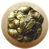 Lodge & Nature Collection 1-1/2'' Diameter Leap Frog Round Wood Cabinet Knob in Antique Brass and Natural, 1-1/2'' Diameter x 1-3/8'' D