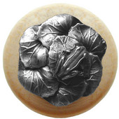 Lodge & Nature Collection 1-1/2'' Diameter Leap Frog Round Wood Cabinet Knob in Antique Pewter and Natural, 1-1/2'' Diameter x 1-3/8'' D
