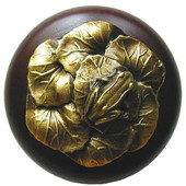 Lodge & Nature Collection 1-1/2'' Diameter Leap Frog Round Wood Cabinet Knob in Antique Brass and Dark Walnut, 1-1/2'' Diameter x 1-3/8'' D