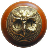 Fun in the Kitchen Collection 1-1/2'' Diameter Wise Owl Round Wood Cabinet Knob in Antique Brass and Cherry, 1-1/2'' Diameter x 1-1/2'' D