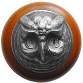 Fun in the Kitchen Collection 1-1/2'' Diameter Wise Owl Round Wood Cabinet Knob in Antique Pewter and Cherry, 1-1/2'' Diameter x 1-1/2'' D