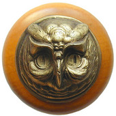 Fun in the Kitchen Collection 1-1/2'' Diameter Wise Owl Round Wood Cabinet Knob in Antique Brass and Maple, 1-1/2'' Diameter x 1-1/2'' D