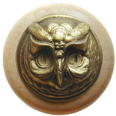Fun in the Kitchen Collection 1-1/2'' Diameter Wise Owl Round Wood Cabinet Knob in Antique Brass and Natural, 1-1/2'' Diameter x 1-1/2'' D