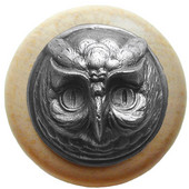 Fun in the Kitchen Collection 1-1/2'' Diameter Wise Owl Round Wood Cabinet Knob in Antique Pewter and Natural, 1-1/2'' Diameter x 1-1/2'' D