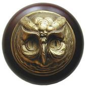 Fun in the Kitchen Collection 1-1/2'' Diameter Wise Owl Round Wood Cabinet Knob in Antique Brass and Dark Walnut, 1-1/2'' Diameter x 1-1/2'' D