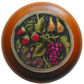 Tuscan Collection 1-1/2'' Diameter Tuscan Bounty Round Wood Cabinet Knob in Hand-Tinted Antique Brass and Cherry, 1-1/2'' Diameter x 1-1/8'' D