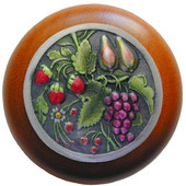 Tuscan Collection 1-1/2'' Diameter Tuscan Bounty Round Wood Cabinet Knob in Hand-Tinted Antique Pewter and Cherry, 1-1/2'' Diameter x 1-1/8'' D