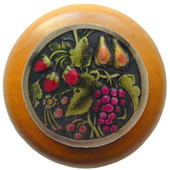 Tuscan Collection 1-1/2'' Diameter Tuscan Bounty Round Wood Cabinet Knob in Hand-Tinted Antique Brass and Maple, 1-1/2'' Diameter x 1-1/8'' D