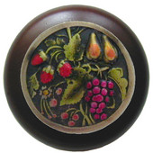 Tuscan Collection 1-1/2'' Diameter Tuscan Bounty Round Wood Cabinet Knob in Hand-Tinted Antique Brass and Dark Walnut, 1-1/2'' Diameter x 1-1/8'' D