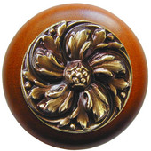 Classic Collection 1-1/2'' Diameter Chrysanthemum Round Wood Cabinet Knob in Antique Brass and Cherry, 1-1/2'' Diameter x 1-1/8'' D