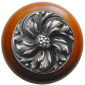 Classic Collection 1-1/2'' Diameter Chrysanthemum Round Wood Cabinet Knob in Antique Pewter and Cherry, 1-1/2'' Diameter x 1-1/8'' D