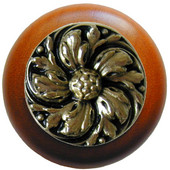 Classic Collection 1-1/2'' Diameter Chrysanthemum Round Wood Cabinet Knob in Brite Brass and Cherry, 1-1/2'' Diameter x 1-1/8'' D