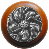 Classic Collection 1-1/2'' Diameter Chrysanthemum Round Wood Cabinet Knob in Satin Nickel and Cherry, 1-1/2'' Diameter x 1-1/8'' D