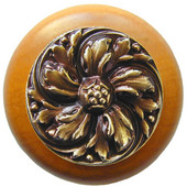 Classic Collection 1-1/2'' Diameter Chrysanthemum Round Wood Cabinet Knob in Antique Brass and Maple, 1-1/2'' Diameter x 1-1/8'' D