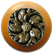 Classic Collection 1-1/2'' Diameter Chrysanthemum Round Wood Cabinet Knob in Brite Brass and Maple, 1-1/2'' Diameter x 1-1/8'' D