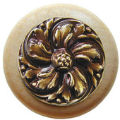 Classic Collection 1-1/2'' Diameter Chrysanthemum Round Wood Cabinet Knob in Antique Brass and Natural, 1-1/2'' Diameter x 1-1/8'' D