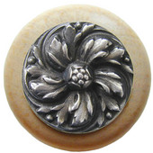 Classic Collection 1-1/2'' Diameter Chrysanthemum Round Wood Cabinet Knob in Antique Pewter and Natural, 1-1/2'' Diameter x 1-1/8'' D