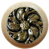 Classic Collection 1-1/2'' Diameter Chrysanthemum Round Wood Cabinet Knob in Brite Brass and Natural, 1-1/2'' Diameter x 1-1/8'' D