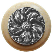 Classic Collection 1-1/2'' Diameter Chrysanthemum Round Wood Cabinet Knob in Satin Nickel and Natural, 1-1/2'' Diameter x 1-1/8'' D