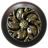 Classic Collection 1-1/2'' Diameter Chrysanthemum Round Wood Cabinet Knob in Brite Brass and Dark Walnut, 1-1/2'' Diameter x 1-1/8'' D