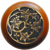 Florals & Leaves Collection 1-1/2'' Diameter Ivy with Berries Round Wood Cabinet Knob in Antique Brass and Cherry, 1-1/2'' Diameter x 1-1/8'' D