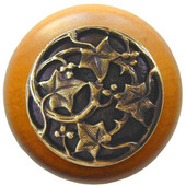Florals & Leaves Collection 1-1/2'' Diameter Ivy with Berries Round Wood Cabinet Knob in Antique Brass and Maple, 1-1/2'' Diameter x 1-1/8'' D