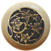 Florals & Leaves Collection 1-1/2'' Diameter Ivy with Berries Round Wood Cabinet Knob in Antique Brass and Natural, 1-1/2'' Diameter x 1-1/8'' D